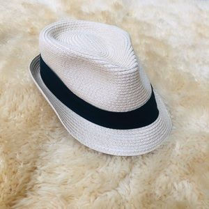 Straw tan black strap women's fedora summer hat
